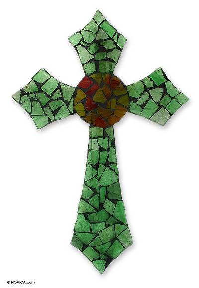 Hand Crafted Mosaic Stained Glass Cross from Mexico