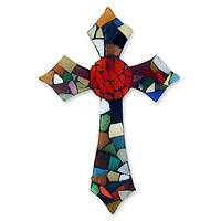Stained glass cross, 'Fire of Faith' - Stained glass cross