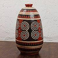 Ceramic vase, 'Spiral' - Mexico Modern Burnished Clay Ceramic Vase