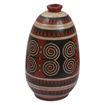 Mexico Modern Burnished Clay Ceramic Vase