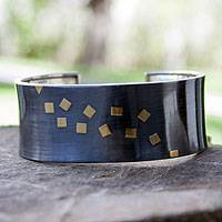 Gold plated cuff bracelet, 'Midnight Comet' - Gold plated cuff bracelet