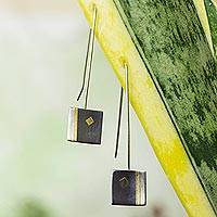 Gold plated drop earrings, 'Secret of Light' - Unique Sterling Silver Earrings from Mexico
