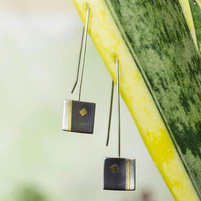 Gold plated drop earrings, 'Secret of Light' - Fair Trade Gold Accent Sterling Silver Drop Earrings