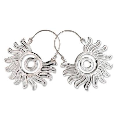 Sterling silver hoop earrings, 'Aztec Sun' - Sterling silver hoop earrings