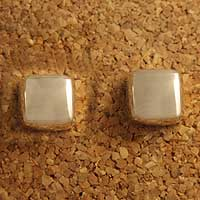 Sterling silver button earrings, 'Ice Cube' - Sterling silver button earrings