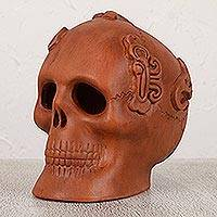 Ceramic figurine, 'Aged Offering' - Handmade Aztec Skull Ceramic Day of the Dead Sculpture