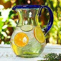 Blown glass pitcher, 'Blue Grace' - Artisan Crafted Pitcher Classic Mexican Handblown Glass