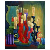'Candles and Votives' - Religious and Spiritual Expressionist Painting