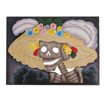 Steel wall art, 'Catrina the Flirt' - Steel wall art