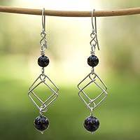Onyx dangle earrings, 'Double Diamond' - Onyx dangle earrings
