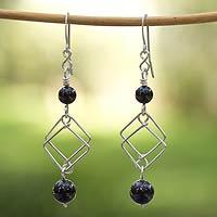 Onyx dangle earrings,