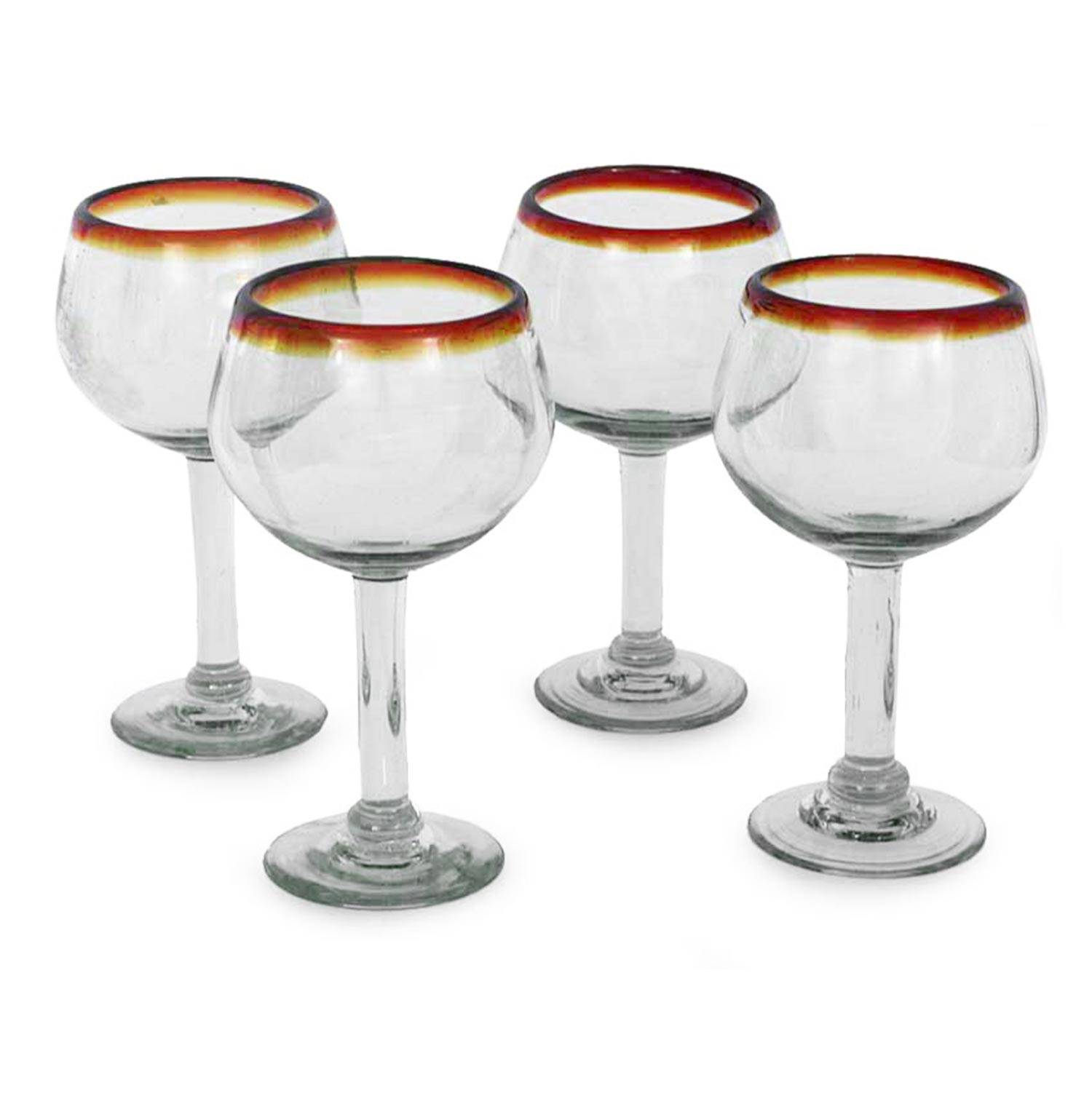 Unicef Market Fair Trade Handblown Glass Recycled Wine Glasses Set Of 4 Amber Globe