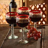 Blown glass wine glasses, 'Ruby Globe' (set of 4) - Set of 4 Hand Blown Wine Glasses Clear with Red Rim Mexico