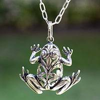 Men's sterling silver necklace, 'Lucky Frog'