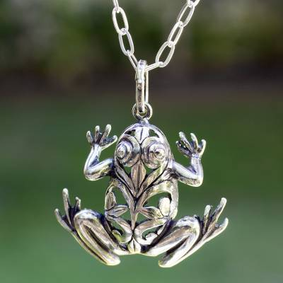 Men's sterling silver necklace, 'Lucky Frog' - Men's Handmade Sterling Silver Good Luck Necklace