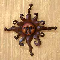 Iron and ceramic wall adornment, 'Eternal Sun' - Sun Portrait Steel and Ceramic Wall Art