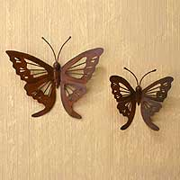 Iron wall adornments, 'Butterfly' (pair) - Handcrafted Steel Butterfly Wall Decor (Pair)