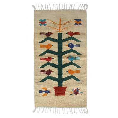 Zapotec wool rug, 'Birds and Corn' (2x3.5) - Artisan Crafted Wool Area Rug with Birds (2x3.5)