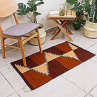 Zapotec wool rug, 'Mountain Paths' (2x3.5) - Zapotec wool rug (2x3.5)