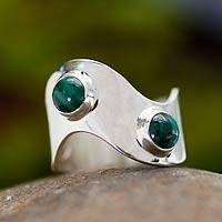 Malachite band ring, 'Wave' - Malachite band ring