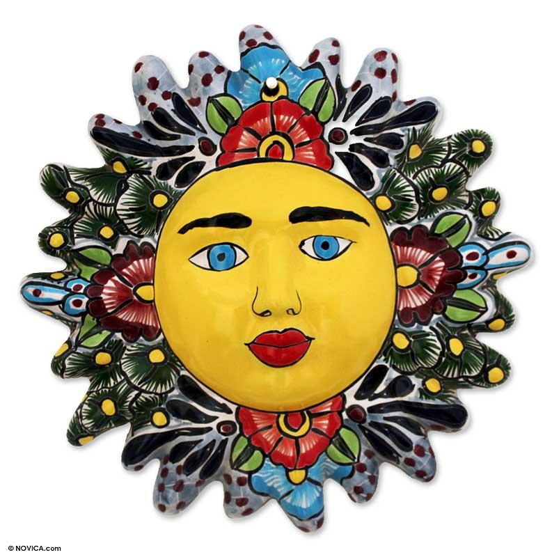 Handcrafted Sunshine Face Ceramic Wall Art - Appeasing Sun   NOVICA