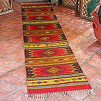 Zapotec wool runner, 'Lavish Earth' (2.5 x 10) - Unique Zapotec Wool Area Rug (2.5 X 10)