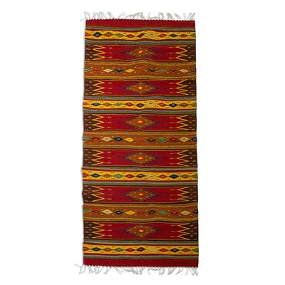 Unique Zapotec Wool Area Rug (2.5 X 10)