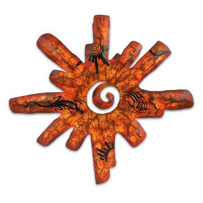 Iron candleholder, 'Cave Art Sun' - Sun Wall Sconce Iron Candleholder Handmade in Mexico