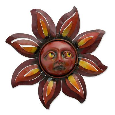 Iron wall adornment, 'Floral Sun' - Handcrafted Sunflower Steel Wall Art Sculpture Mexico