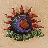 Iron welcome sign, 'Sun Moon Embrace' - Iron welcome sign
