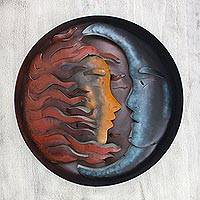 Iron wall adornment, 'Romance Eclipse' - Sun and Moon Steel Wall Art Sculpture from Mexico