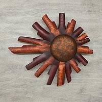Iron wall adornment, 'Two Suns' - Hand Made Sun Sculpture Mexican Steel Wall Art