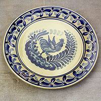 Majolica ceramic plate, 'Rooster at Dawn' - Majolica ceramic plate