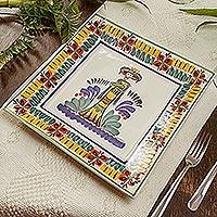 Majolica ceramic plate, 'Catrina' - Square Majolica Ceramic Plate Handmade in Mexico