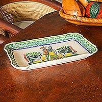 Majolica ceramic plate, 'Colonial Wedding'