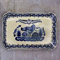 Majolica ceramic plate, 'Colonial Rooster' - Handcrafted Ceramic Serving Dish