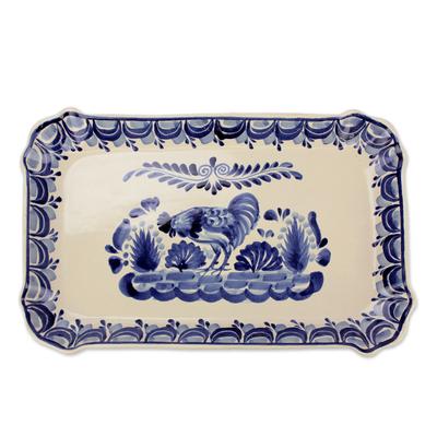 Majolica ceramic plate, 'Colonial Rooster' - Majolica Ceramic Platter Dish Handmade in Mexico
