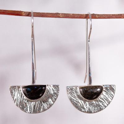 Golden obsidian drop earrings, 'Golden Gaze' - Golden obsidian drop earrings