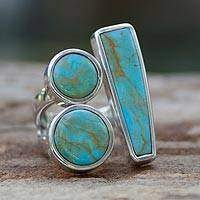 Sterling silver cocktail ring, 'Abstract Skies'