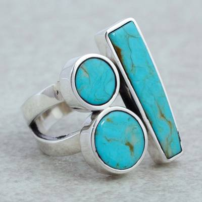 Sterling silver cocktail ring, 'Abstract Skies' - Sterling silver cocktail ring