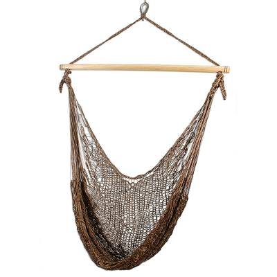 Hammock swing, 'Autumnal Bronze' - Hand Woven Mayan Swing Style Hanging Chair for Indoor and Ou