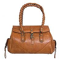 Leather handbag, 'Golden Days' - Handmade Brown Leather Handbag