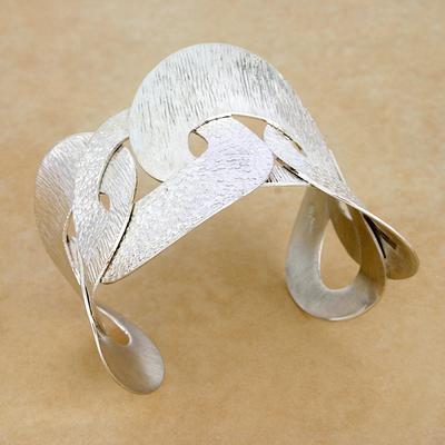 Sterling silver cuff bracelet, 'Dance' - Sterling silver cuff bracelet