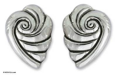 Taxco Silver Seashell Button Earrings from Mexico