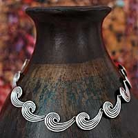 Sterling silver choker, 'Whispering Wind'