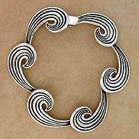 Featured review for Sterling silver link bracelet, Whispering Wind