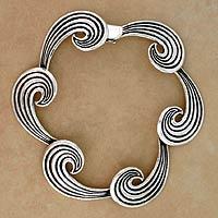 Sterling silver link bracelet, 'Whispering Wind' - Sterling silver link bracelet