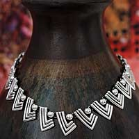 Sterling silver link necklace, 'Aztec Victory' - Unique Taxco Silver Sterling Link Necklace