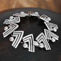Sterling silver link bracelet, 'Aztec Victory' - Mexican Taxco Silver Link Bracelet