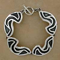 Sterling silver link bracelet, 'Clouds' - Sterling silver link bracelet